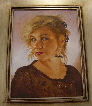 Porträt Kabarettistin <b>Birgit Schaller</b>, 2005. Mischtechnik auf Holz, - schaller